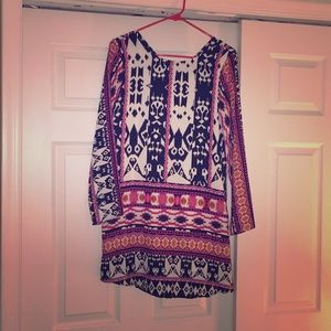 Ikat patterned strappy back cocktail dress